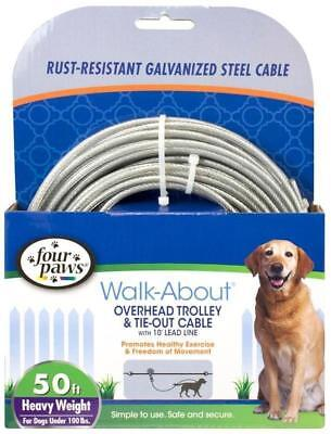 Four Paws Walk About Steel Overhead Trolley & Tie Out Cable, 50 Ft. (Four Paws Cable Tie)