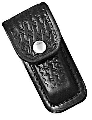Black Leather Sheath For 3 To 3 25 Inch Knife  Basketweave Finish   Sh200