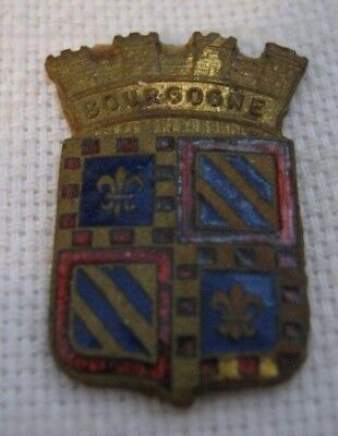 Wine Country Blue & Red Enameled Brass BOURGOGNE France Crest w/ Crown c. 1949