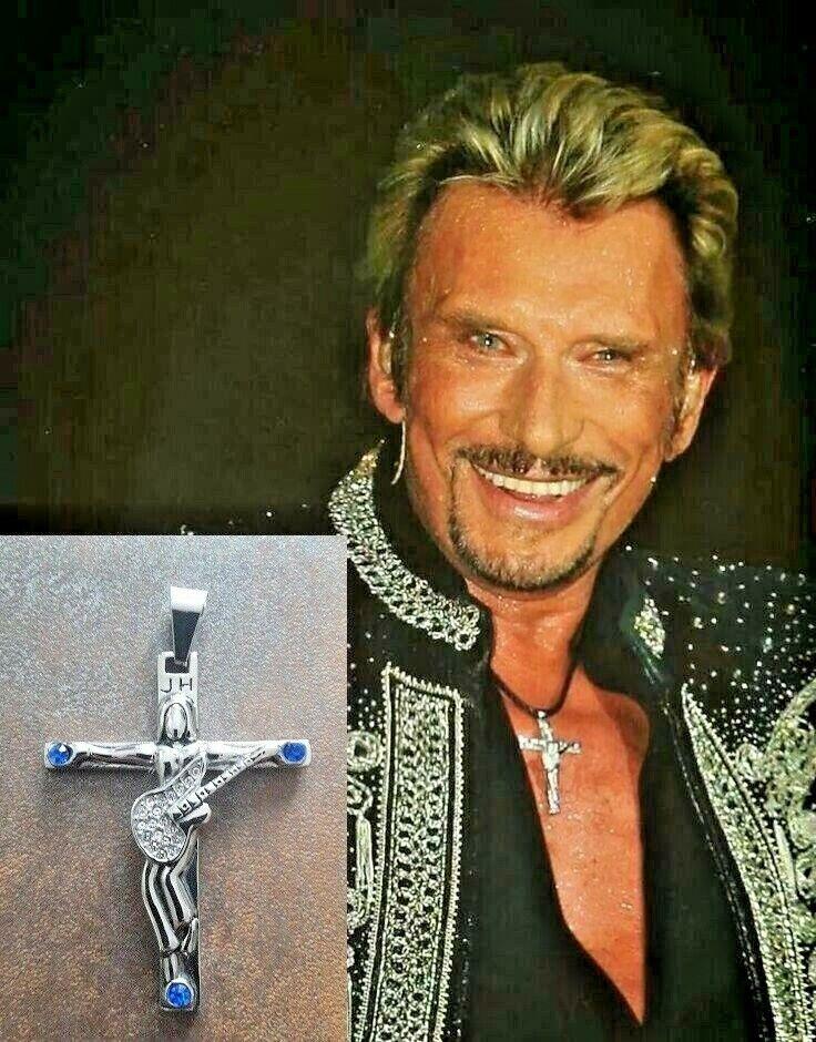 croix johnny hallyday 6.3 x 4.8 cm avec signature avec 2 cordons offerts !!