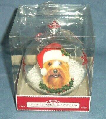LG Glass Snow Globe Ball Christmas Tree Ornament Puppy Dog Pet Writable w/ Pen