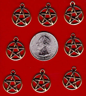 YOU GET 20 METAL GOLD TONE PENTAGRAM CHARMS - GOOD STUFF FROM JUNKMANRALF -C 6