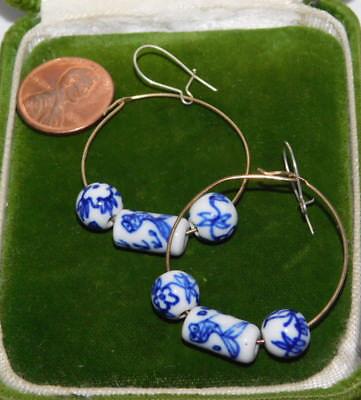Vintage Blue White Glazed Chinese Bead Hook Kidney Wire Earrings 4k 67