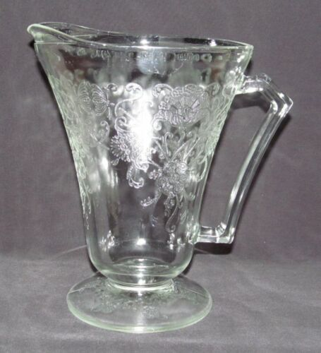 Hazel Atlas Glass FLORENTINE No.2 Poppy Crystal Footed Cone-Shaped Water Pitcher