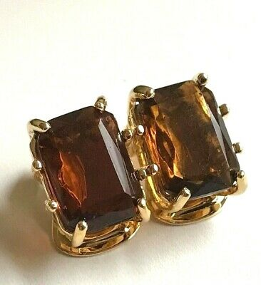 Gold Vintage Style Art Deco Clip On Earrings Princess Cut Brown Cubic Zirconia  Deco Style Clip Earrings