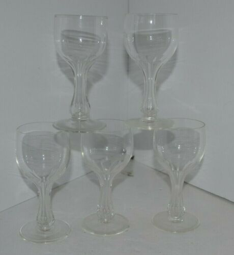 Edwardian Hollow Stem Wine Glasses St Louis or Bryce Crystal 1900