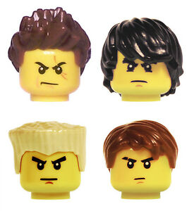 NEW LEGO NINJAGO MINIFIG HAIR SET of 4 Cole Jay Kai Zane ninja headgear