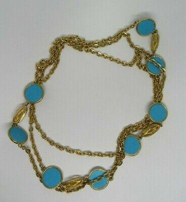 Gebruikt, WOMEN'S LONG FASHION STATEMENT Gold Chain TURQUOISE Blue tweedehands  verschepen naar Netherlands