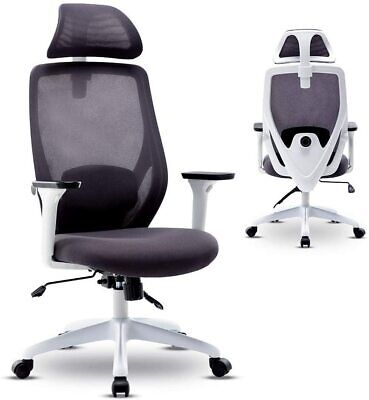 White Office Mesh Swivel Chair Executive Computer Desk Ergonomic High-back Task