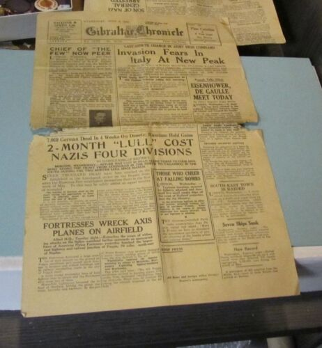 June 2 1943 Gibraltar Chronicle Newspaper Eisenhower and De Gaulle Meet WWII
