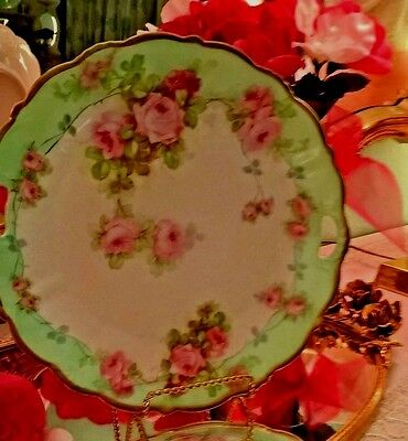 Hand Painted Porcelain Green & Pink Roses Plate P.S. Gold Trim Bavaria