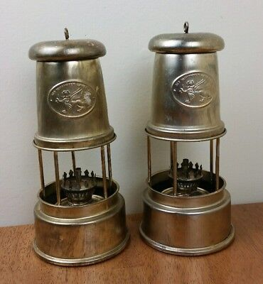 Sir Humphrey Davy Brass Miners Lamp Oil Lantern Vtg Set of 2 Nora Nelson 8""