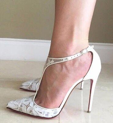 Christian Louboutin SALONU 100 White Lace Leather Wedding Pumps Heels Shoes 39