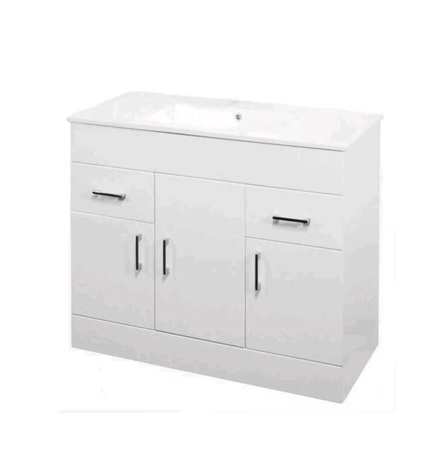 White gloss 1000 bathroom vanity unit cabinet without basin NOT ...