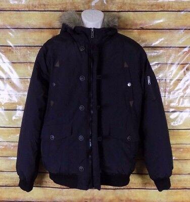 (Roebuck & Co Girls Coat Jacket Black Faux Fur Hooded Size Large )