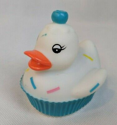 """Coollites White Rubber Duckie Duck w/ Sprinkles, Blue Cupcake Liner 3.5"""" Long for sale  Shipping to India"""