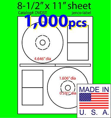 1000 Stomper Compatible Cddvd Labels Matte White Laser Inkjet