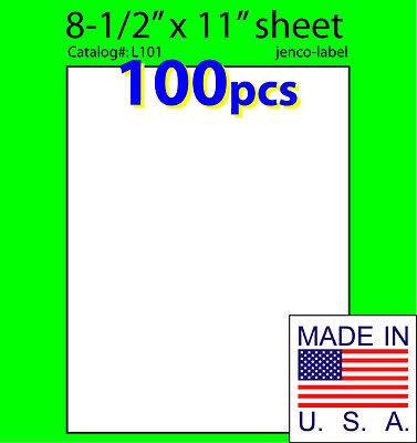 L101, 100 Full Sheet Labels,8-1/2x11,Laser InkJet Label Laser Label Sheet