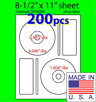 200 Memorex Compatible CD/DVD Labels, Matte White Laser InkJet