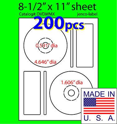 200 Memorex Compatible Cddvd Labels Matte White Laser Inkjet