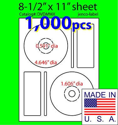 1000 Memorex Compatible Cddvd Labels Matte White Laser Inkjet