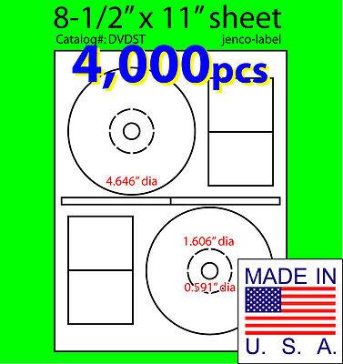 4000 Stomper Compatible Cddvd Labels Matte White Laser Inkjet