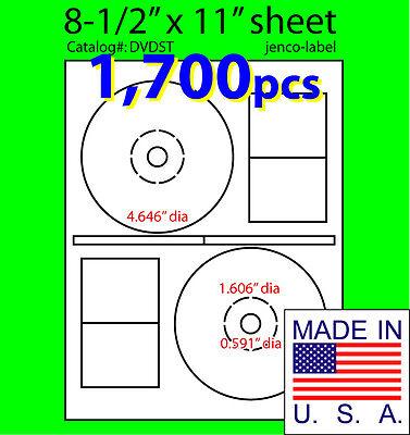 1700 Stomper Compatible Cddvd Labels Matte White Laser Inkjet