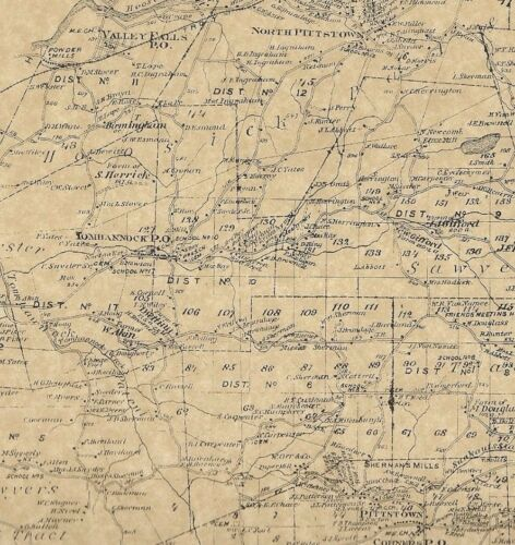 Pittstown Johnsonville Tomhannock NY 1876 Maps with Homeowners Names Shown