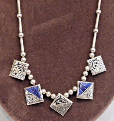 Vintage Navajo Signed Teme Sterling Silver & Blue Lapis Inlay Necklace