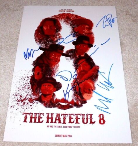 THE HATEFUL EIGHT CAST SIGNED MOVIE POSTER COA QUENTIN TARANTINO KURT RUSSELL X6