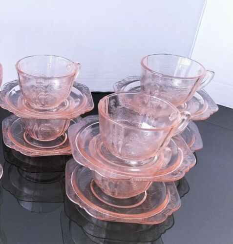 Pink Depression Glass 6 Cups, 6 saucers