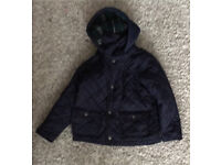 boys barbour style quilted navy jacket age 4-5yrs M & S