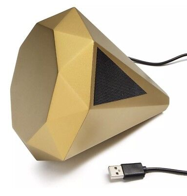 NEW Aesthetic Youtube Gem Diamond Bluetooth 5.5-in Speaker Gold-Tone USB Charger