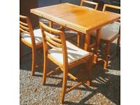 VINTAGE SOLID OAK DINNING TABLE AND CHAIRS