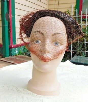 VINTAGE 1950's CHRUCH STYLE HAT WITH BROWN VEIL