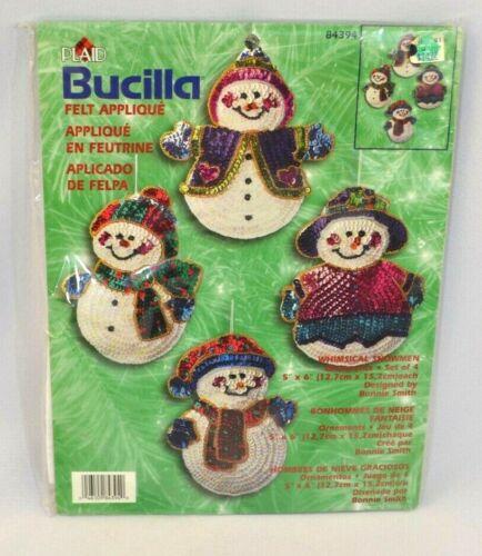 Vtg. Bucilla #84394 Snowman Sequins Felt Applique Crafting Ornament Kit