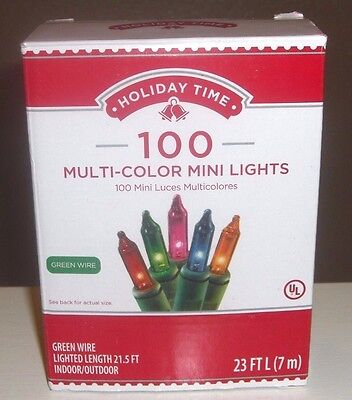 Holiday Time 100 Multi-Color Mini Lights-Christmas-Wedding-NEW-Green Wire