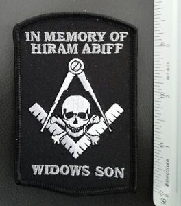 MASONIC BIKER PATCH-HIRAM ABIFF MEMORIAL, WIDOW SON