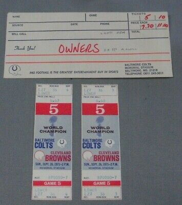 1971 Cleveland Browns @ Baltimore Colts Full Tickets (2), Art Modell's Tickets
