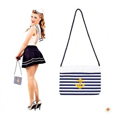 Handtasche Navy blau-weiß Tasche Marine Zubehör Kostüm Matrosin - Navy Blau Kostüm