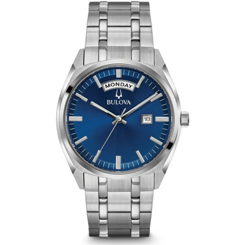 Bulova Mens Stainless Steel Classic Watch in Silver with Day Indicator, 96C125