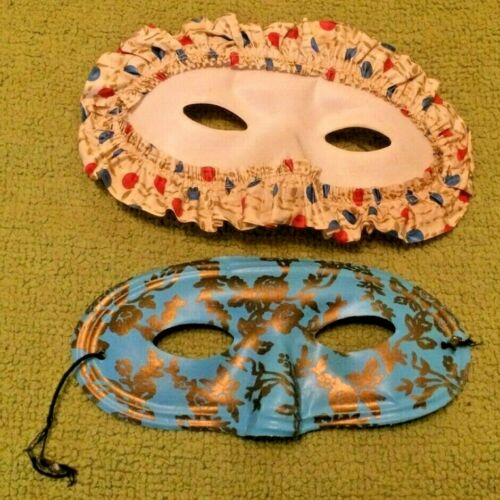 2 Antique Halloween Paper Masks Decor Rare Horror Costume Party  50
