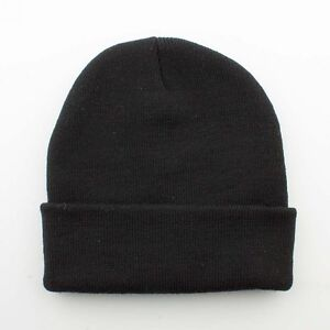 New Quality Blank Plain Black Long Skull Fold Unfold Cuffed Beanie Winter Hat