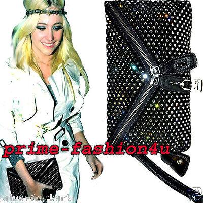 Dolce & Gabbana D&G Black Micol Crystal Embellishment Crossbody  Clutch Bag