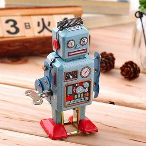 Vintage Mechanical Clockwork Wind Up Metal Walking Robot Tin Toy Kids Toys Doll