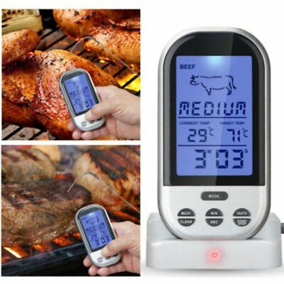 Digital Wireless Barbecue BBQ Meat Thermometer Remote Grill Cooking Food ProbeLQ