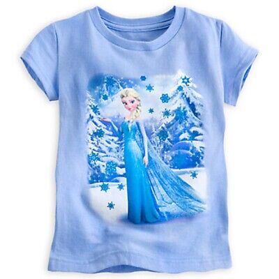 New Disney STORE Frozen Elsa & Anna Girls Small 7/8 Sparkle Glitter T-Shirt Top