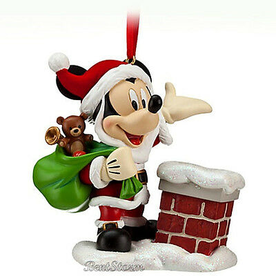 NEW 2012 Disney Store Christmas SANTA CLAUS MICKEY Holiday Ornament CHIMNEY Gift
