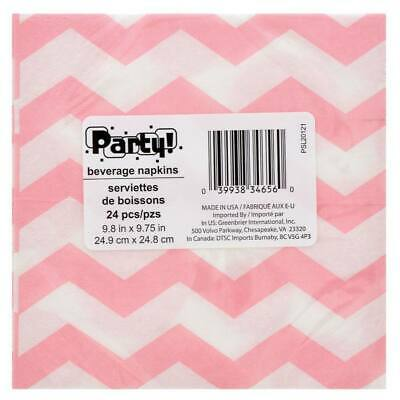 2X Beverage Paper Napkins w/ Chevron and Polka Dot Print Pink and White 48 Count (Pink And White Polka Dot Paper)