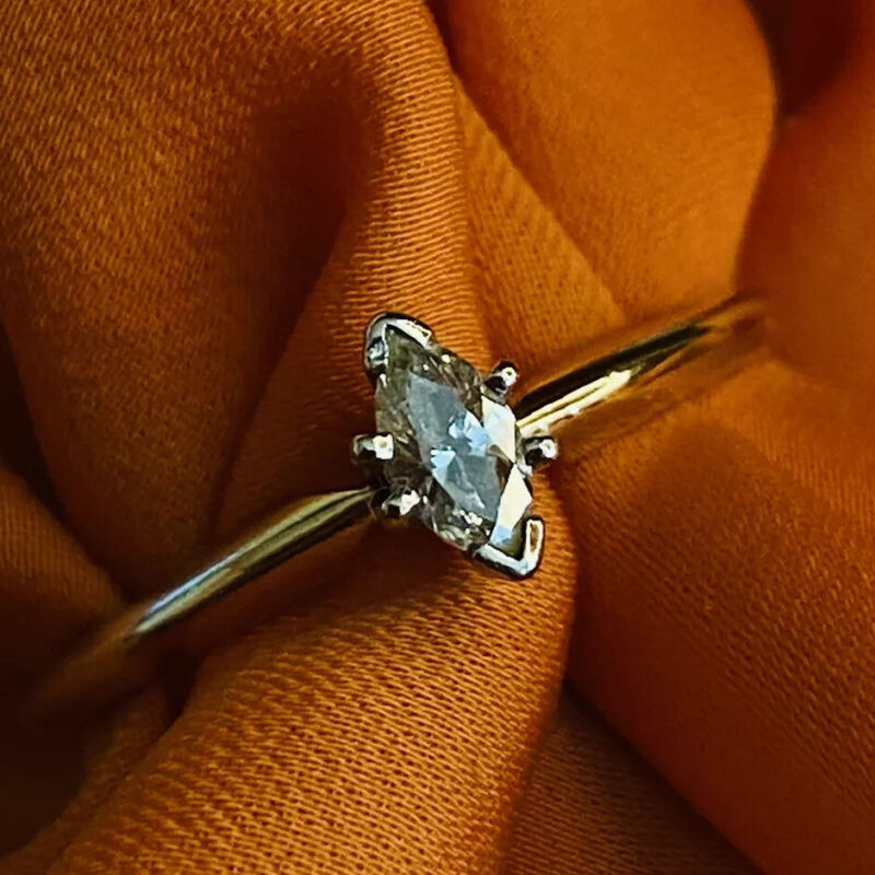 10k Gold Diamond Ring Marquise Cut 1/7ct Diamond Solitaire Ring